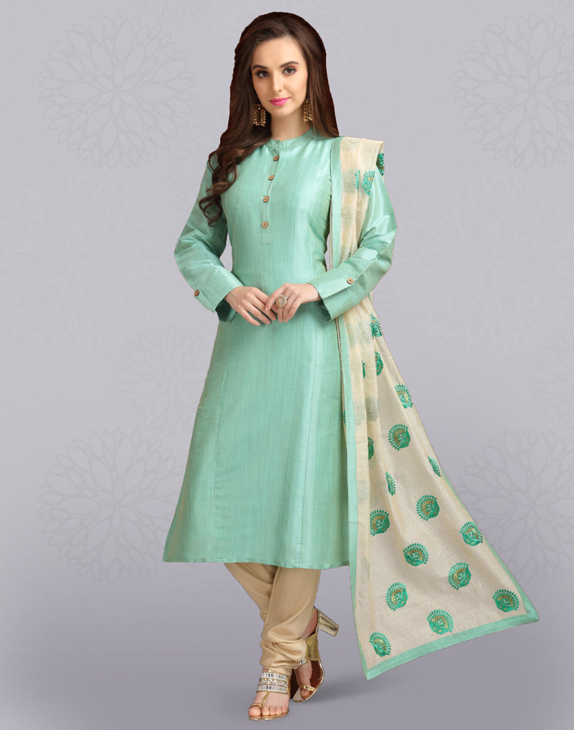 Neptune Green 'N' Cream Chanderi Slawar Suit