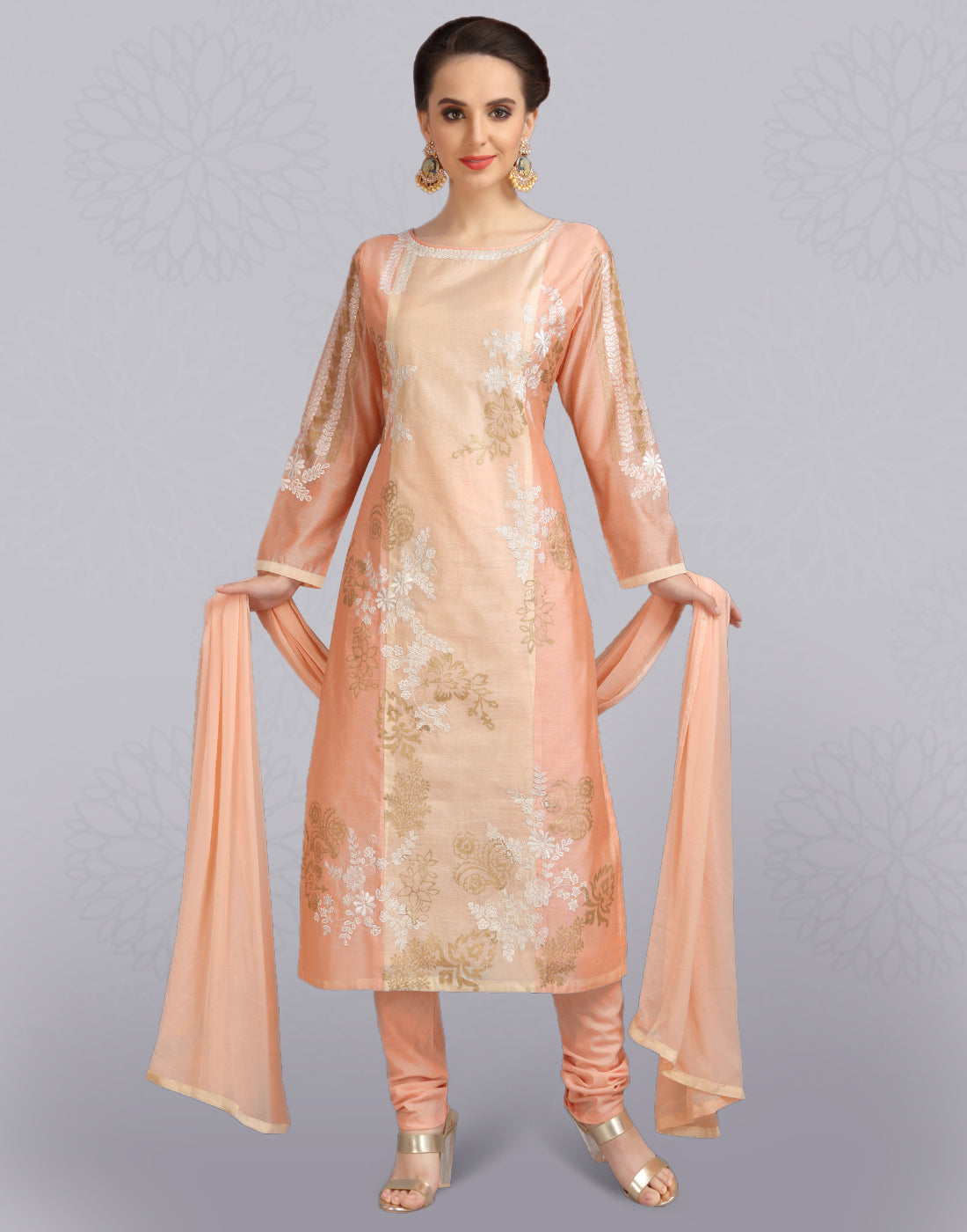 Peach Chanderi Cotton Salwar Suit