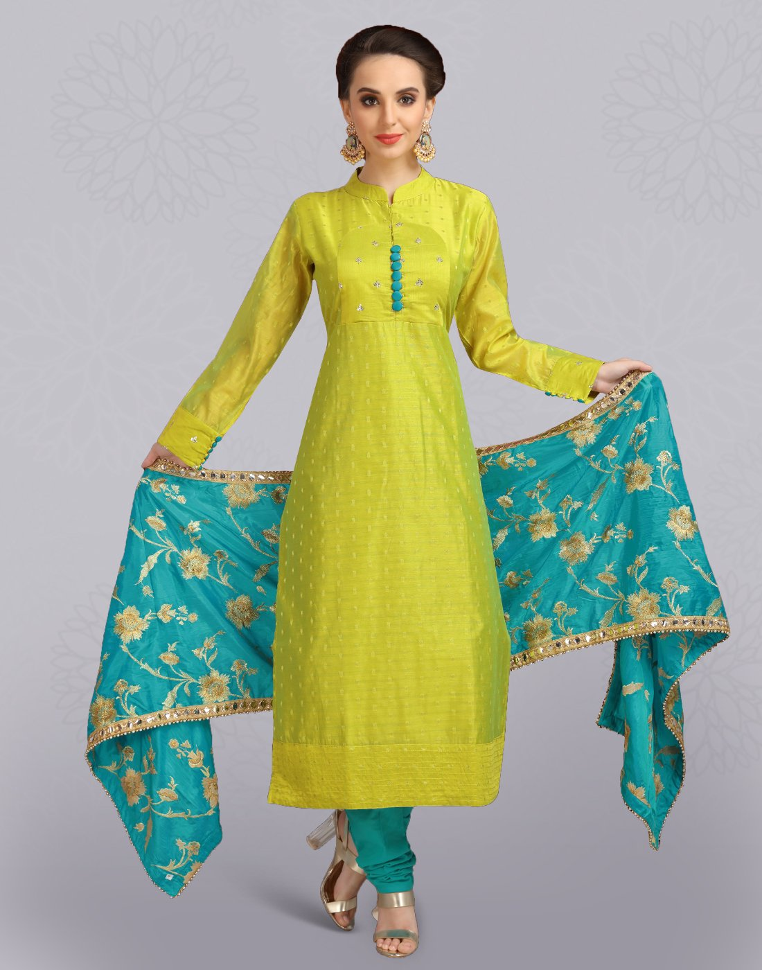 Apple Green Dobby Silk Cotton Salwar Suit