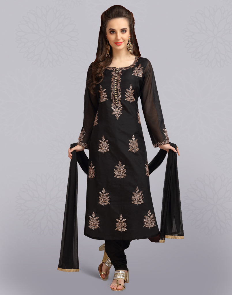 Pirate Black Chanderi Cotton Salwar Suit