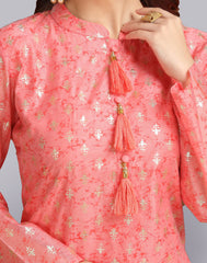 Georgeous Strawberry Pink Chanderi Cotton Palazzo Suit