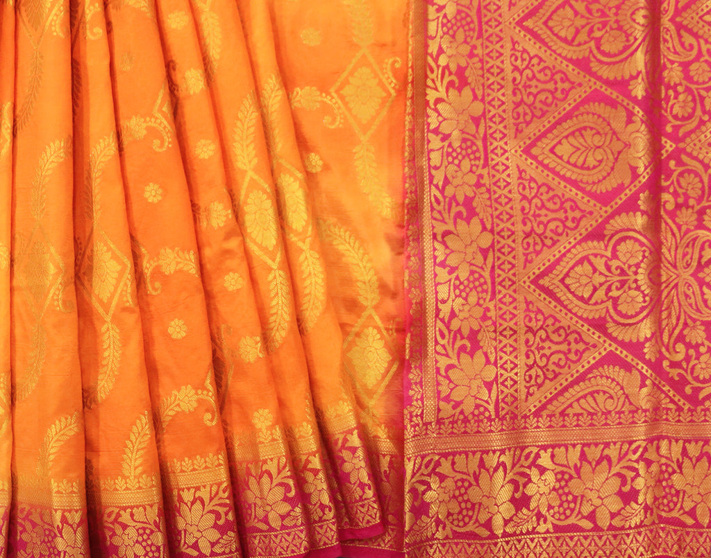 Orange With Pink Banaras Silk Saree With Contrast Blouse