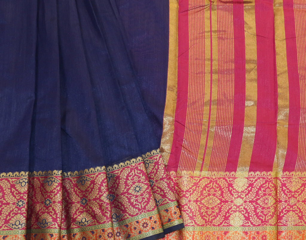 Blue Art Saree With Pink Contrast Border and Blouse