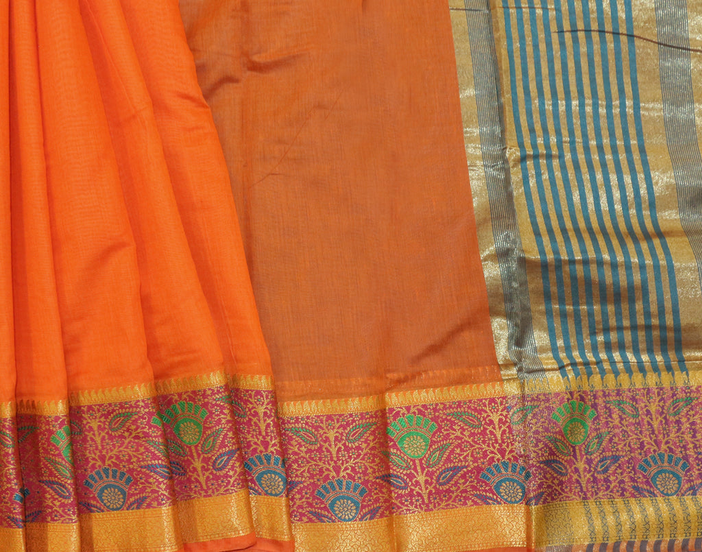 Orange Art Saree With Green Contrast Border and Blouse