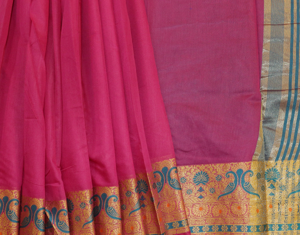 Pink Art Saree With Blue Contrast Border and Blouse
