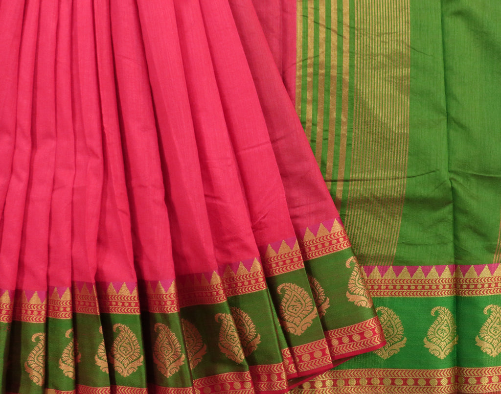 Pink Art Saree With Green Contrast Border and Blouse