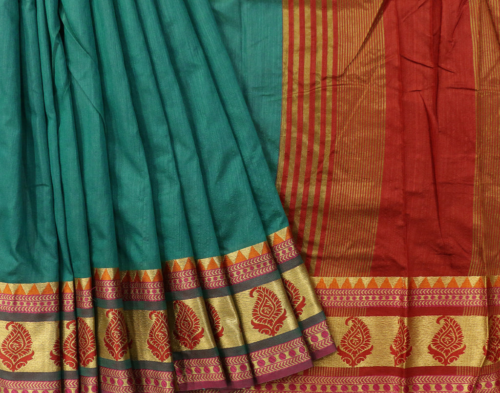 Green Art Saree With Red Contrast Border and Blouse