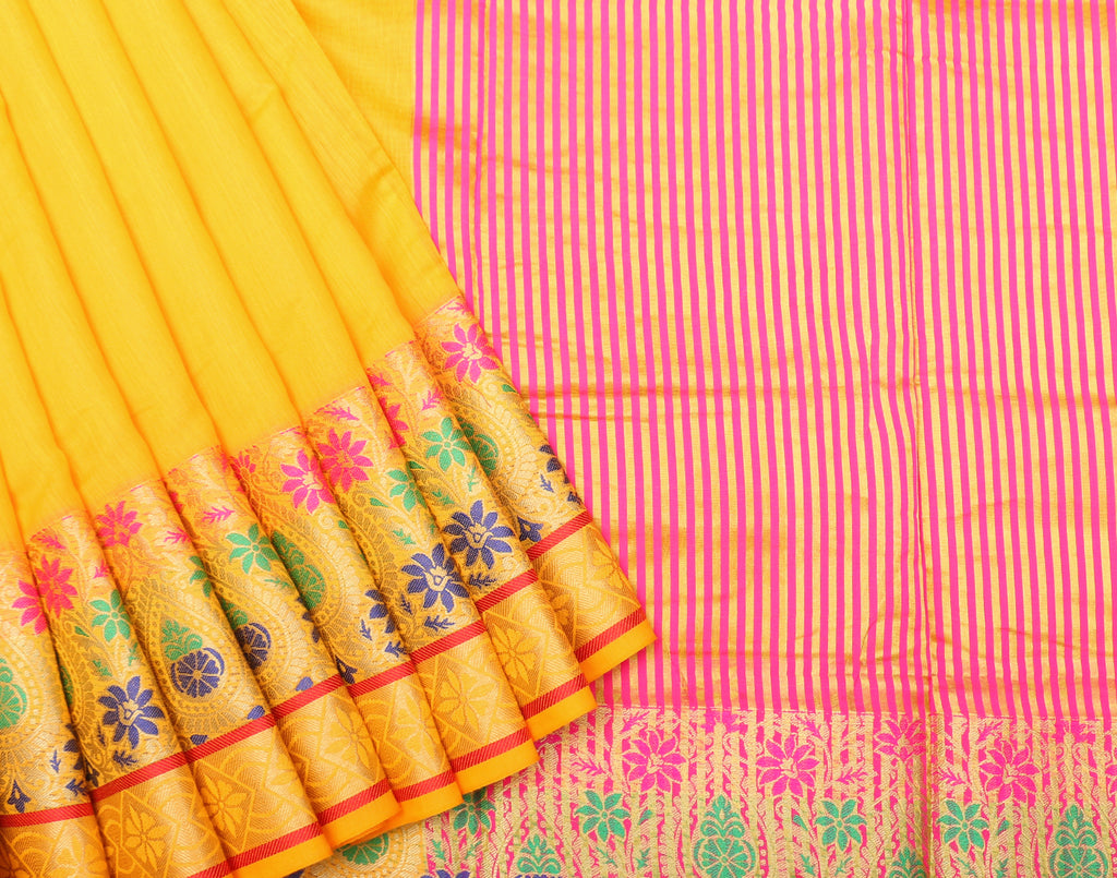 Yellow Art Saree With Pink Contrast Border and Blouse