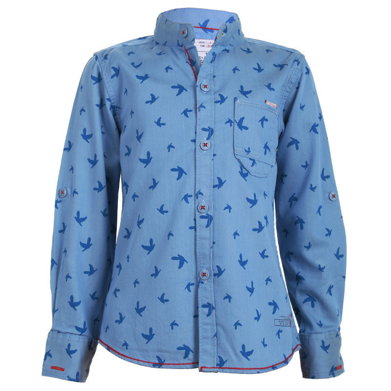 Ice Boys - Trendy Bird Printed Blue Cotton Full Sleeve Chinese Collar Shirts