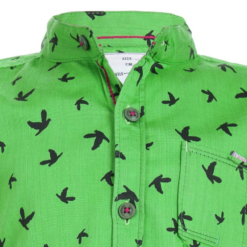Ice Boys - Trendy Bird Printed Green Cotton Full Sleeve Chinese Collar Shirts
