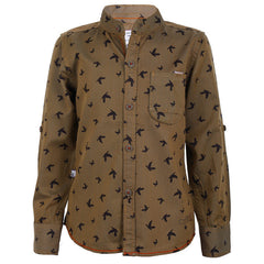 Ice Boys - Trendy Bird Printed Brown Cotton Full Sleeve Chinese Collar Shirts