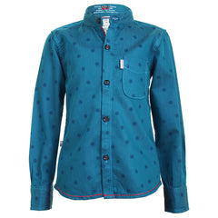 Ice Boys - Trendy Wheel Printed Teal Blue Cotton Full Sleeve Chinese Collar Shirts