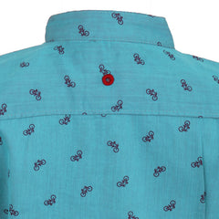 Ice Boys - Trendy Cycle Printed Mild Blue Cotton Full Sleeve Chinese Collar Shirts