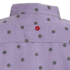 Ice Boys - Trendy Wheel Printed Mild Purple Cotton Full Sleeve Chinese Collar Shirts