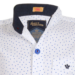 Einstein - Blue Dot Printed White Chinese Collared Cotton Full Sleeve Shirts