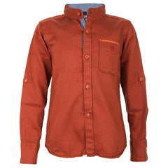 Biker Boys - Dot Printed Rust Brown Cotton Full Sleeve Shirts