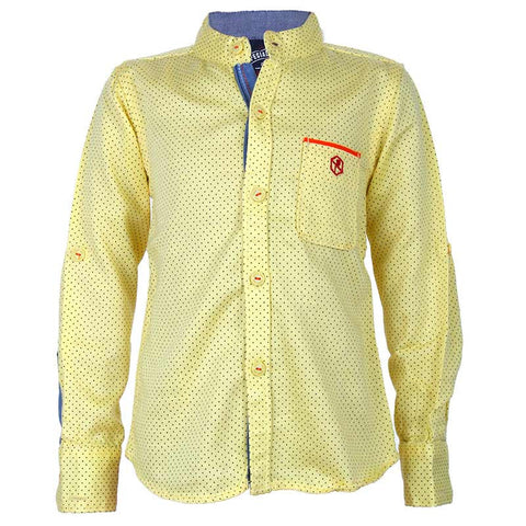 Biker Boys - Dot Printed Yellow Cotton Full Sleeve Shirts