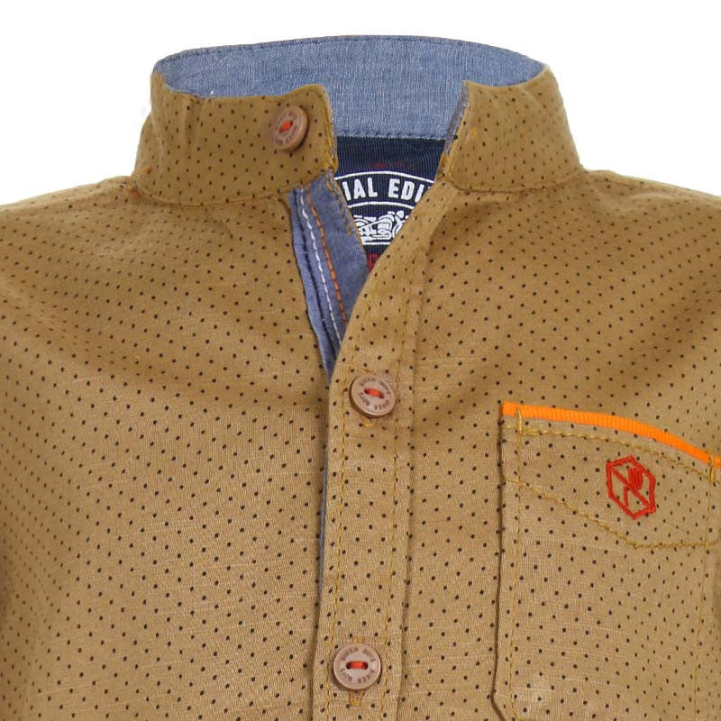 Biker Boys - Dot Printed Beige Cotton Full Sleeve Shirts