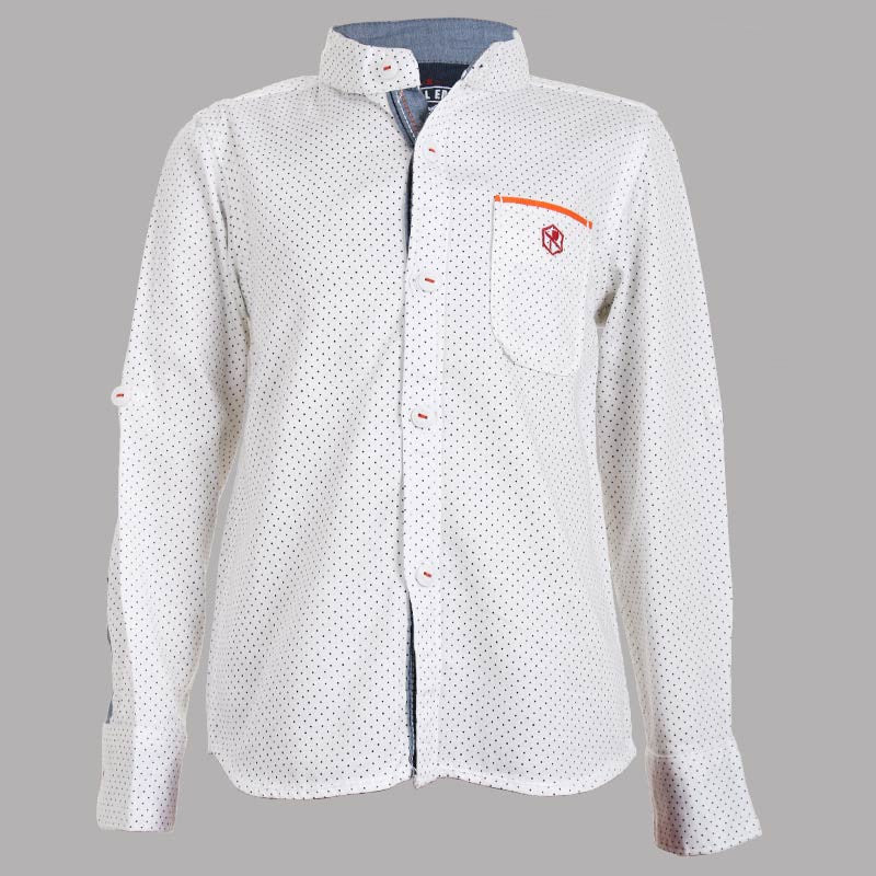 Biker Boys - Dot Printed White Cotton Full Sleeve Shirts