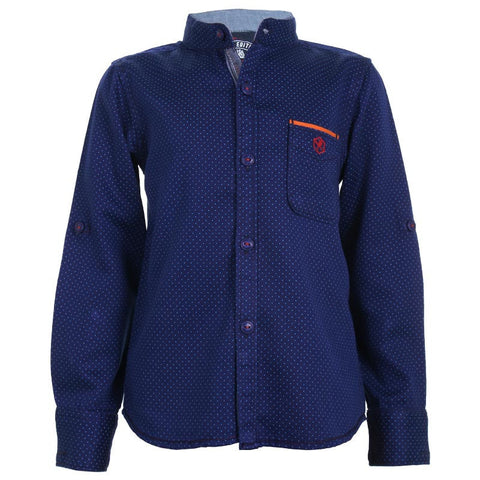 Biker Boys - Dot Printed Blue Cotton Full Sleeve Shirts