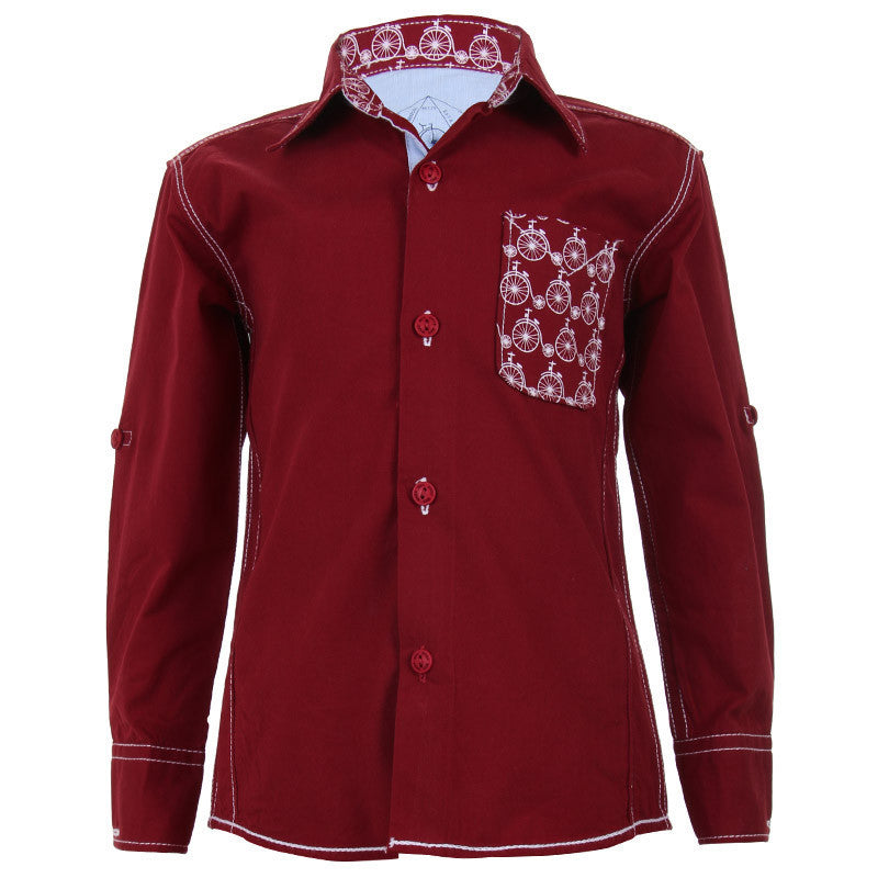 Biker Boys - Cycle Pocket Maroon Cotton Full Sleeve Shirts