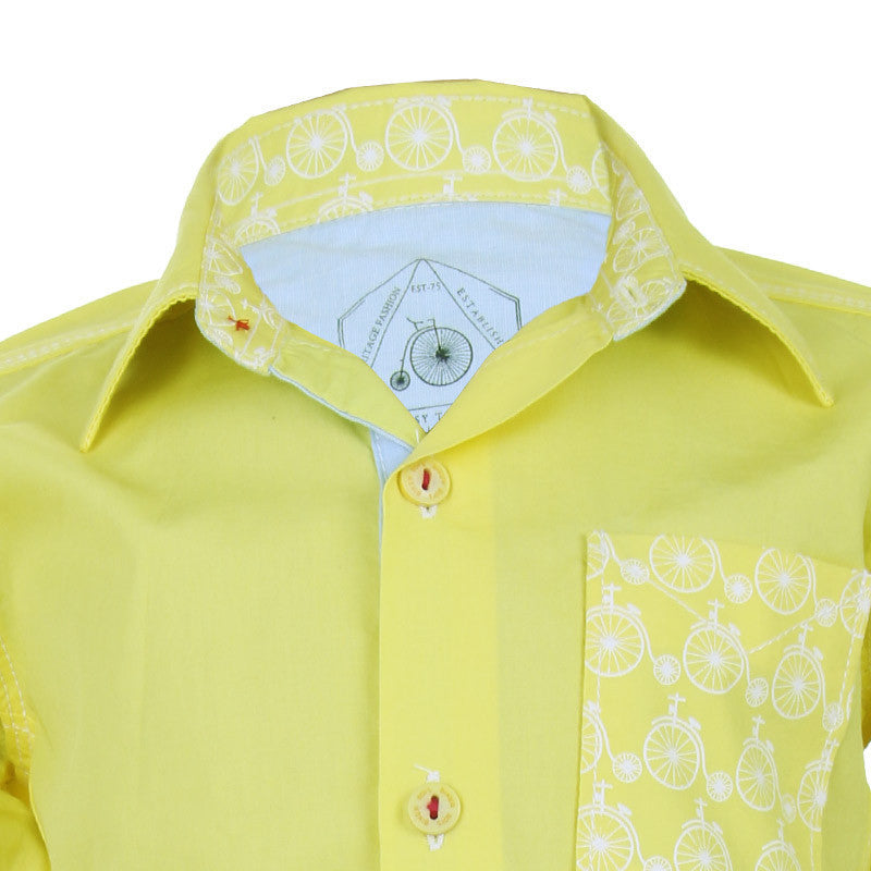 Biker Boys - Cycle Pocket Yellow Cotton Full Sleeve Shirts