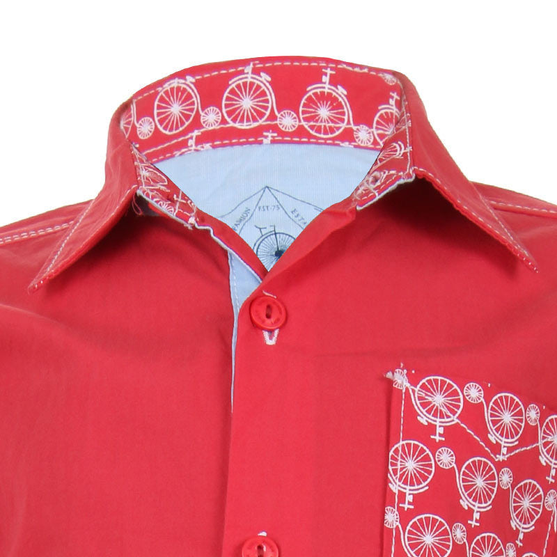 Biker Boys - Cycle Pocket Pink Cotton Full Sleeve Shirts