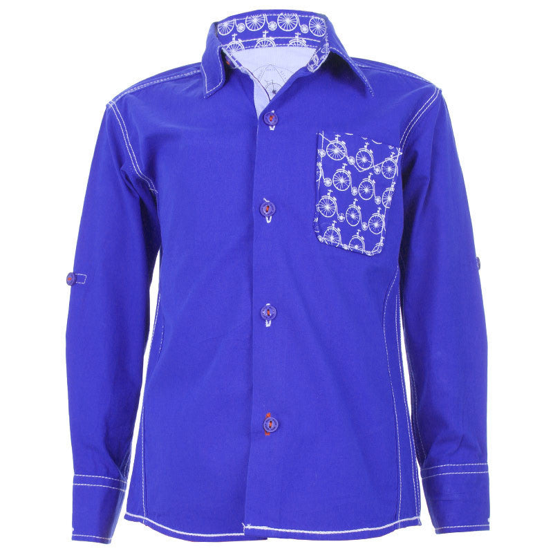 Biker Boys - Cycle Pocket Dark Blue Cotton Full Sleeve Shirts