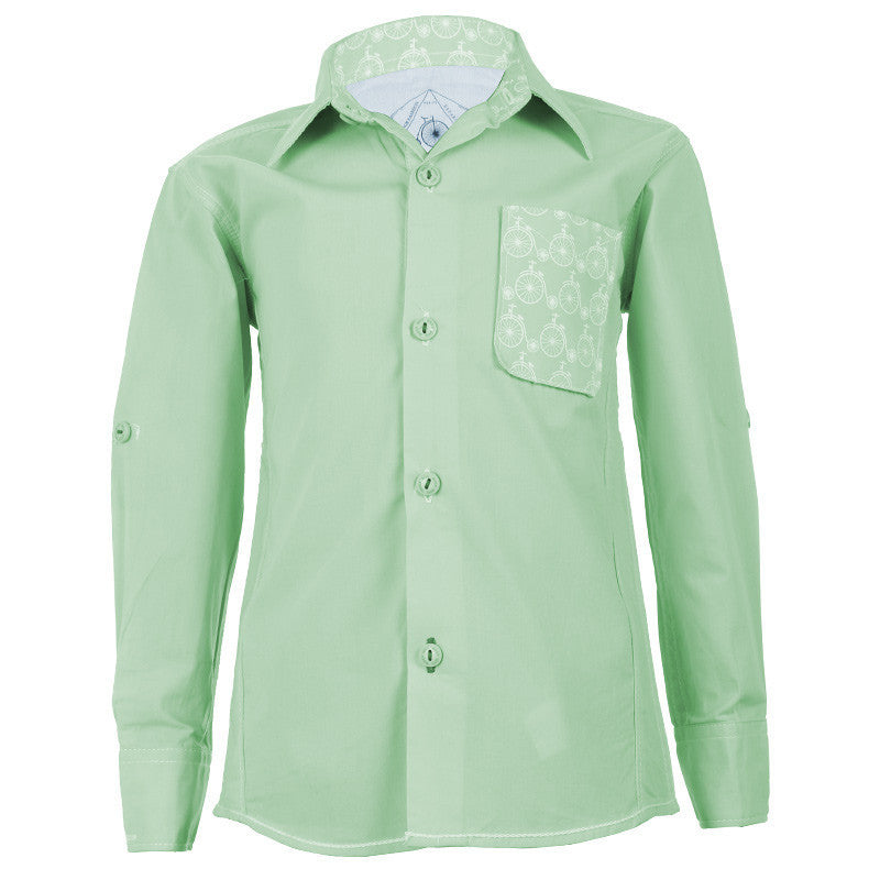 Biker Boys - Cycle Pocket Light Green Cotton Full Sleeve Shirts