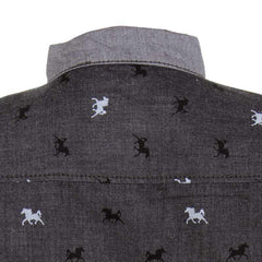 Einstein - Black Horse Printed Chinese Collared Cotton Full Sleeve Shirts