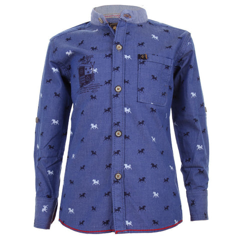 Einstein - Blue Horse Printed Chinese Collared Cotton Full Sleeve Shirts