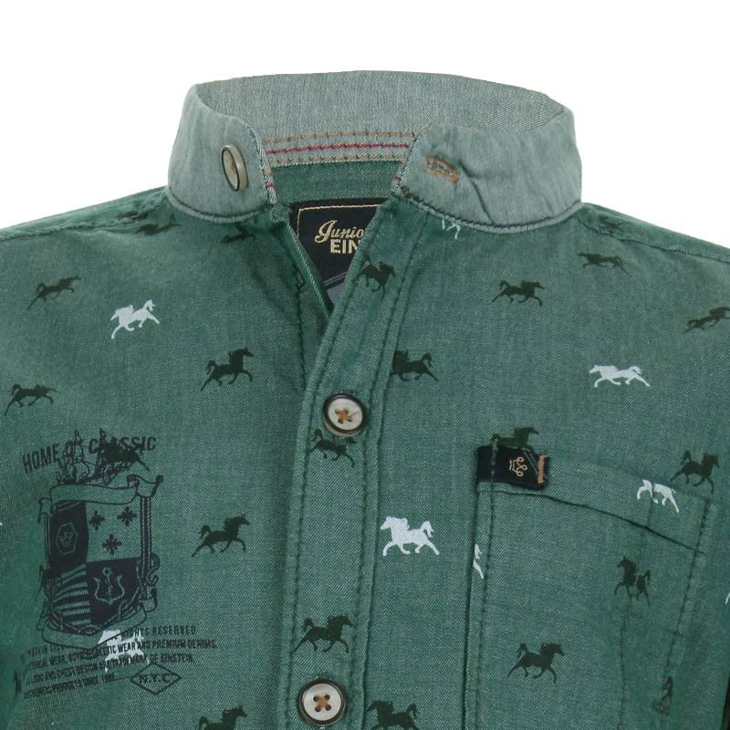 Einstein - Green Horse Printed Chinese Collared Cotton Full Sleeve Shirts