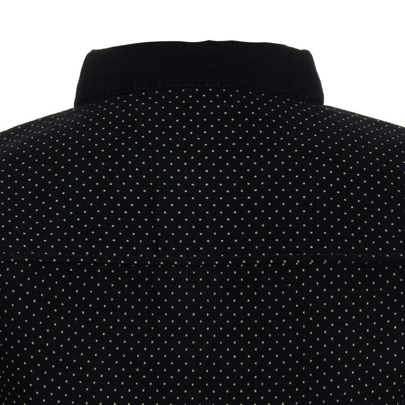 Einstein - Black Micro Dots Printed Chinese Collared Cotton Full Sleeve Shirts