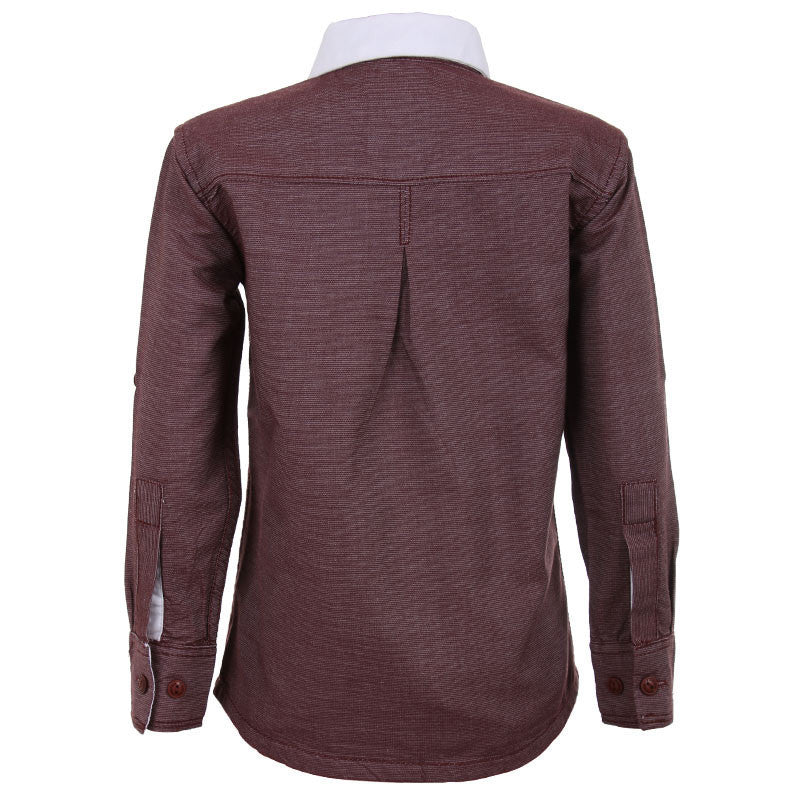 Einstein - Maroon Thin Lines On Differential Collared Cotton Full Sleeve Shirts
