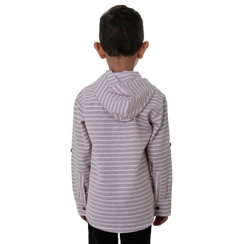 Ice Boys Red And Black Striped Full Sleeve Cotton Shirts