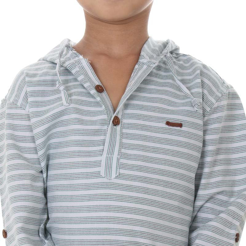 Ice Boys -Green Striped Closed Collar Full Sleeve Cotton Shirts