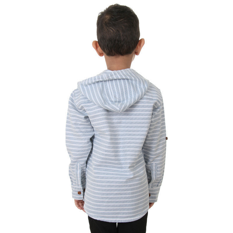 Ice Boys - Blue Striped Full Sleeve Closed Collar Cotton Shirts