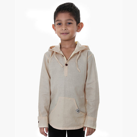 Ice Boys - Beige Full Sleeve Cotton Hoodies