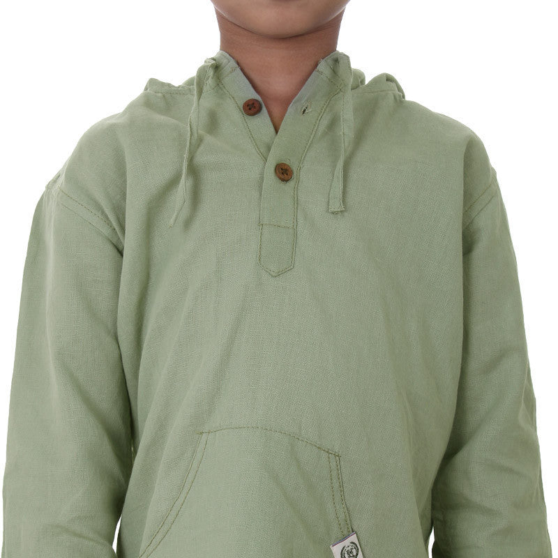 Ice Boys - Olive Green Full Sleeve Cotton Hoodies