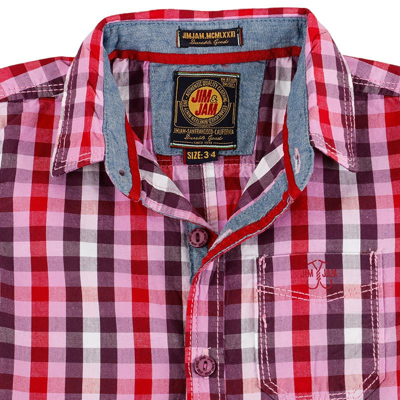 Jim & Jam - Red And Pink Checked Half Sleeve Shirts