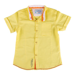 Biker Boys - Light Yellow Half Sleeve Closed Collar Shirts