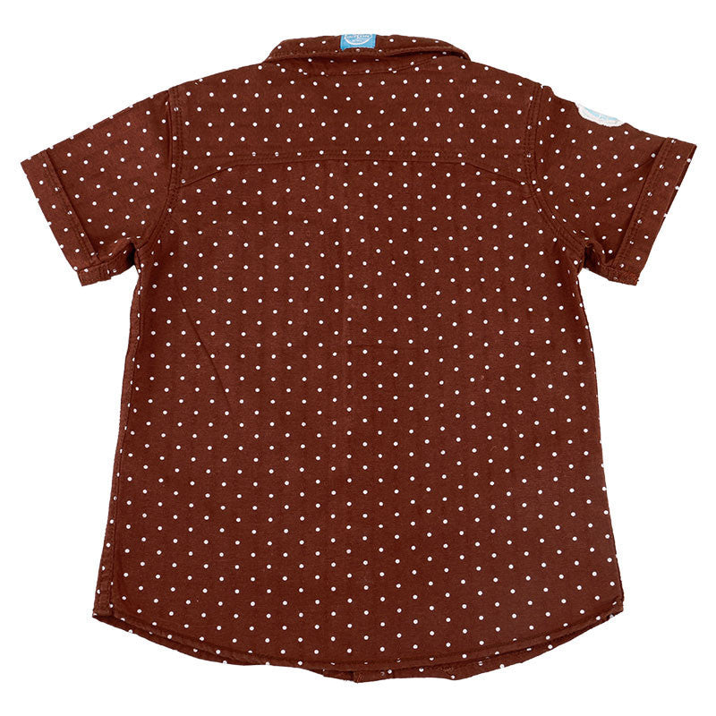 Einstein - Dark Brown Dot Printed Cotton Half Sleeve Shirts