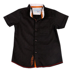 Biker Boys - Black Dot Printed Half Sleeve Closed Collar Shirts
