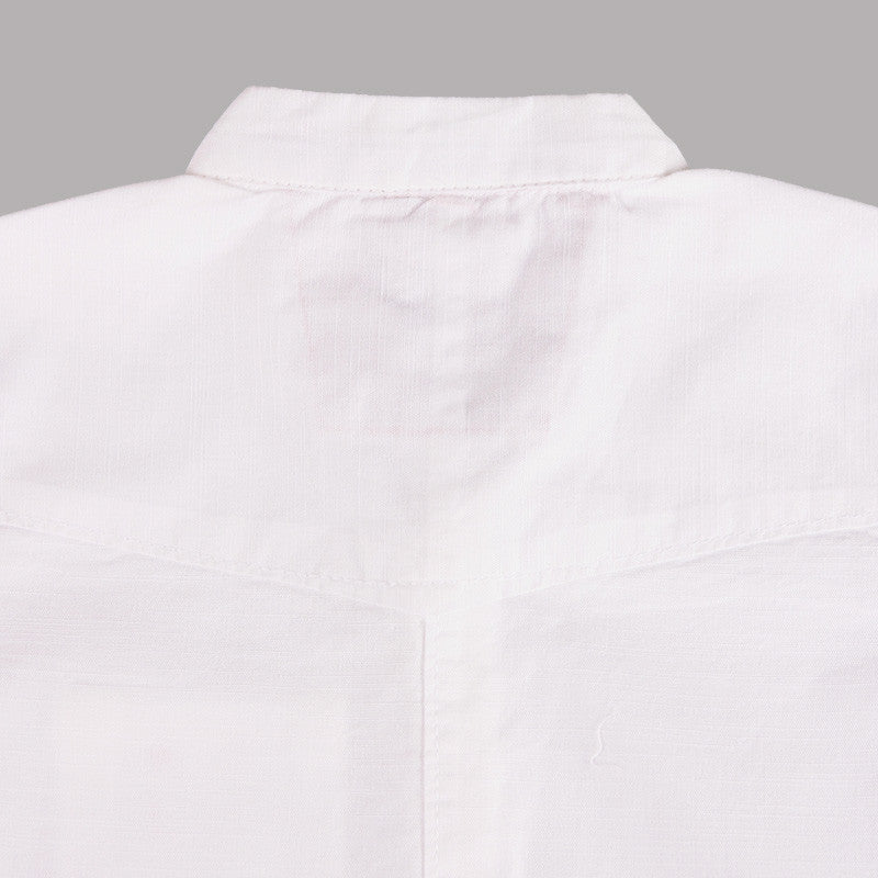 Ice Boys - Solid White Cotton Half Sleeve Closed Collar Shirts