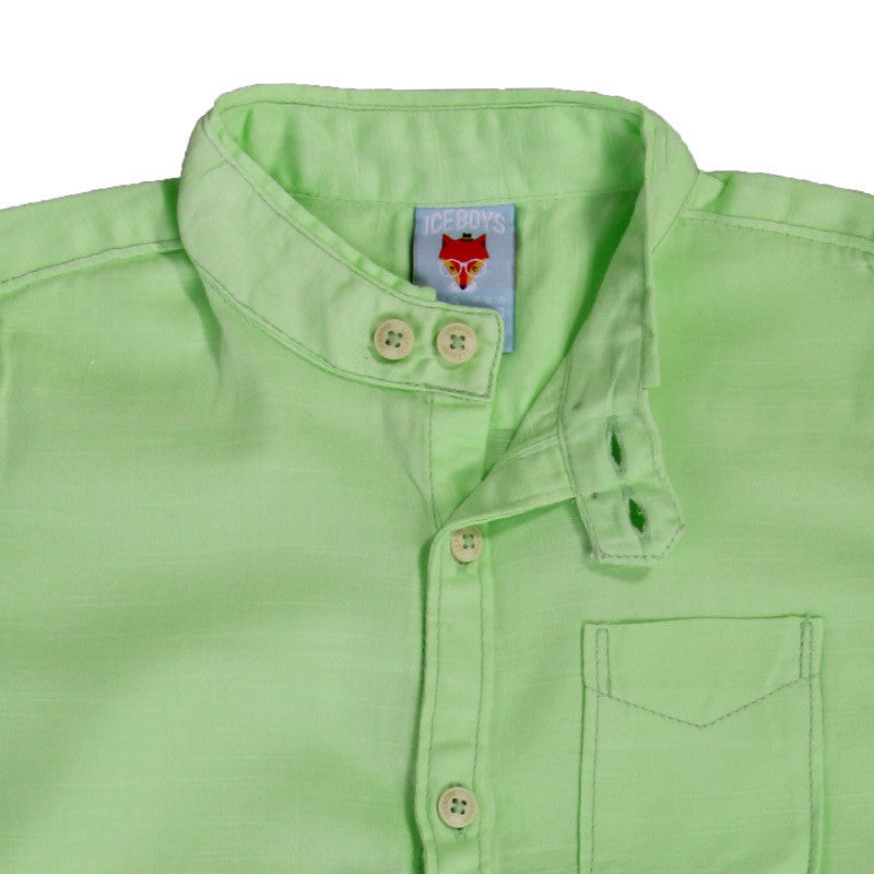 Ice Boys - Solid Lime Green Cotton Half Sleeve Closed Collar Shirts