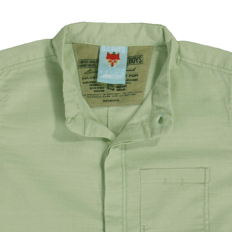 Ice Boys - Solid Pale Green Cotton Half Sleeve Closed Collar Shirts