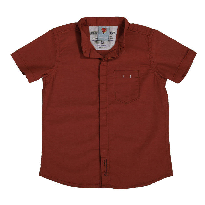 Ice Boys - Solid Brick Red Cotton Half Sleeve Closed Collar Shirts