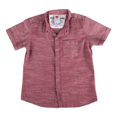Ice Boys - Solid Shady Maroon Cotton Half Sleeve Closed Collar Shirts
