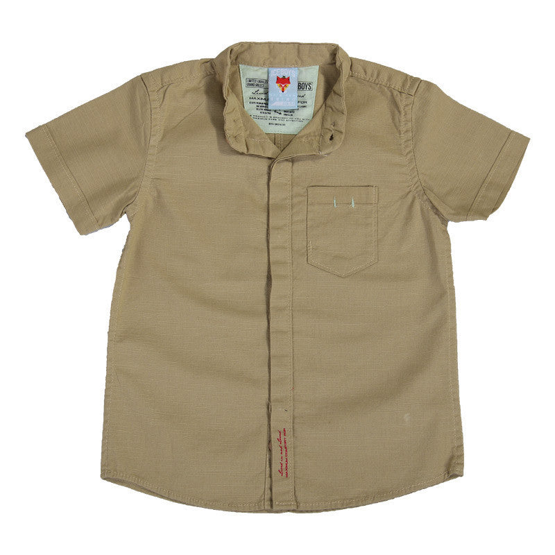 Ice Boys - Solid Kakhi Cotton Half Sleeve Closed Collar Shirts