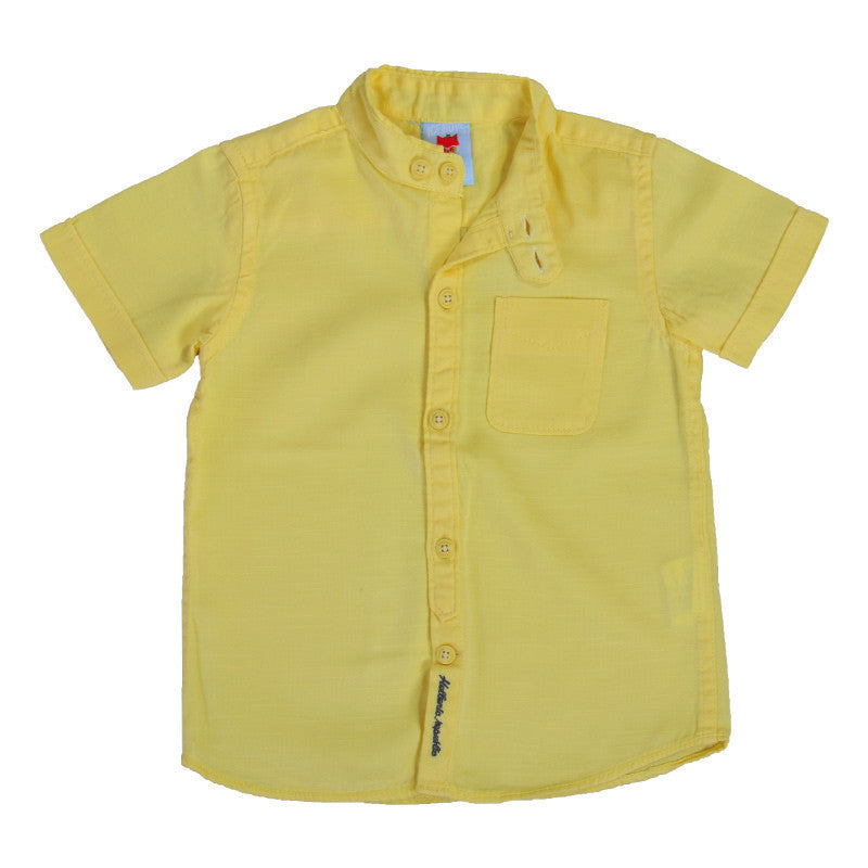 Ice Boys - Solid Lime Yellow Cotton Half Sleeve Closed Collar Shirts